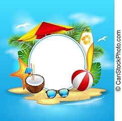浜, 傘, 島, 夏, 背景, 海