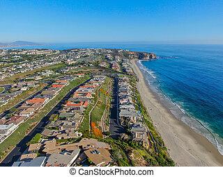 浜, 光景, 海岸線, 航空写真, 君主