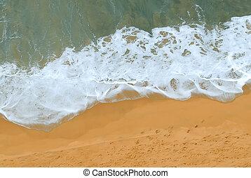 浜, 光景, 衝突, 航空写真, 波