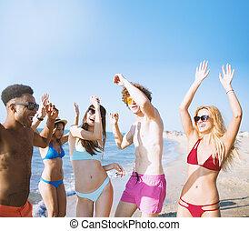 浜, 友人, グループ, ダンス