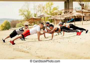 浜, 友人, グループ, 運動