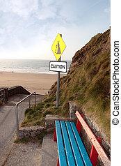 浜, 地すべり, ベンチ, 注意の印