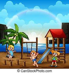 浜 場面, 運動場, 子供