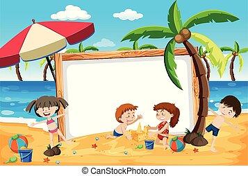 浜, 夏の 子供, 旗