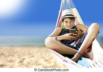 浜, 夏季休暇, ハンモック, 子供, あること