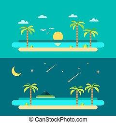 浜, 夏, パラダイス, デザイン, 平ら