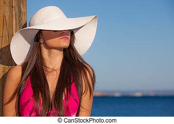 浜, 夏, 女, ファッション, hat.
