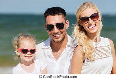浜, 夏, 家族, 幸せ, サングラス