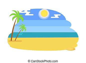 浜, 夏, seaview, トロピカル, 暑い, 海景