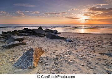 浜, 大西洋, 日没