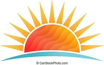 浜, 太陽, poly, ベクトル, 低い, ロゴ, 照ること