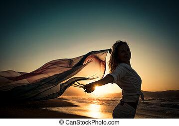 浜, 女 シルエット, 若い