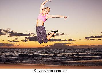 浜, 女, 日没, 跳躍