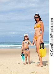 浜。, 娘, 母