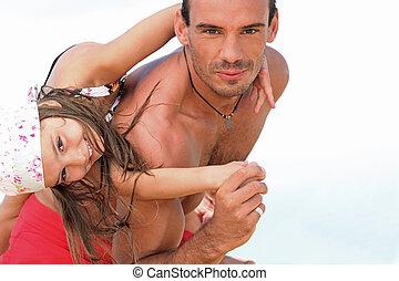 浜, 娘, 遊び, 父