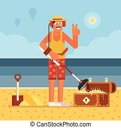 浜, 宝物, 探知器, ハンター, 金属