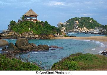 浜 小屋, 中に, tayrona, 上に, ∥, 北の海岸, の, コロンビア