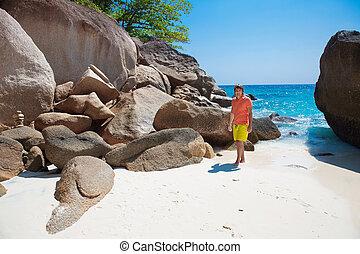 浜, 屋外, リラックスしなさい, 自由, concept., 若い, travel., トロピカル, lifestyle., 夏, portrait., 人, 休暇, 至福, ハンサム