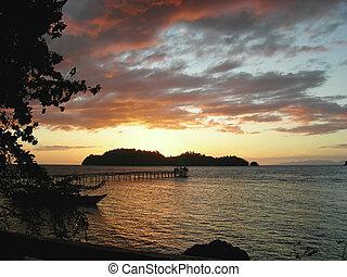 浜, 島, togians, 上に, インドネシア, トロピカル, 日没, sulawesi