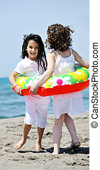 浜, 幸せ, グループ, 遊び, 子供