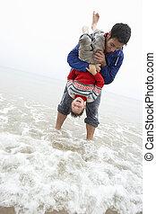 浜, 幸せ, 父, 息子