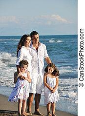 浜, 幸せ, 若い, 楽しみ, 家族, 持ちなさい