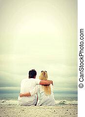 浜, 座りなさい, 幸せな カップル, 海洋