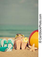 浜, 弛緩, 子供
