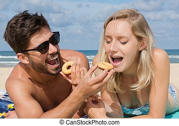 浜, 恋人, ピクニック, 持つこと