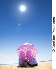浜, 恋人, 下に, 接吻, 傘