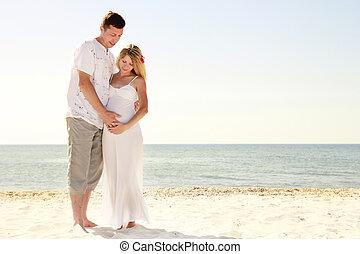 浜, 恋人, 愛, 妊娠した
