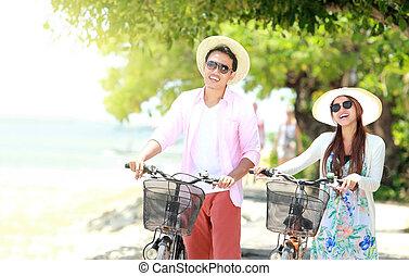 浜, 恋人, 自転車, 若い, 肖像画