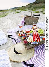 浜, 日没, スタイル, boho, ピクニック