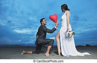 浜, 日没, ロマンチック, 結婚式
