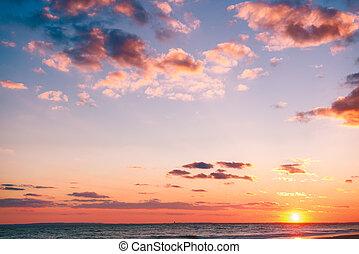 浜, 日没, 美しい