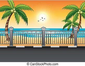 浜, 日没, 道, 風景