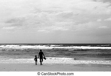 浜, 春, 息子, 父の 時間