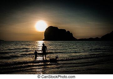 浜, 時間, 父, 日没, 息子