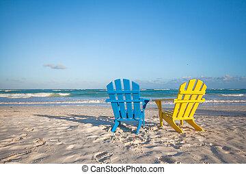 浜, 木製である, カラフルである, 椅子, ∥ために∥, 休暇, 上に, 熱帯 浜, 中に, tulum, メキシコ\
