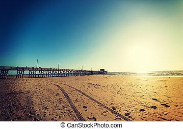 浜, 桟橋, 日没, ニューポート