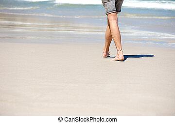 浜, 歩くこと, はだしで, 休暇, 人
