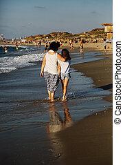 浜, 歩くこと, 娘, 母