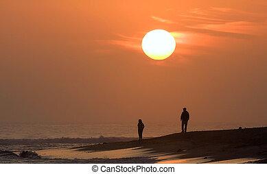 浜, 歩くこと, 日没