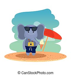 浜, 氷, カメラ, 象, 写真, クリーム