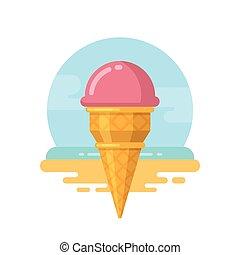 浜, 氷, ピンク, アイコン, クリーム, 平ら