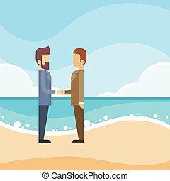 浜, 沖合いに, 握手, 金融, ビジネスマン