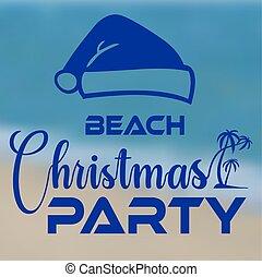浜, 海岸, santa, パーティーバナー, クリスマス帽子