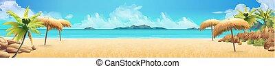浜。, 海, パノラマ, トロピカル, ベクトル, 背景