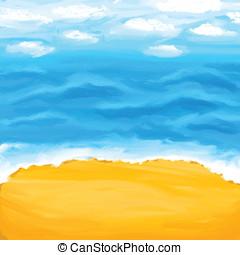 浜, 海, 夏, バックグラウンド。, sand.