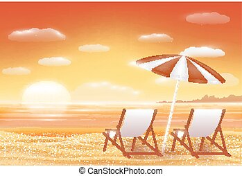 浜, 海, 日没, 美しい, 砂, 椅子, 現場